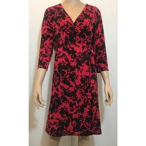 "Vince Camuto Black Red 3/4"" Sleeve Wrap Dress PL"